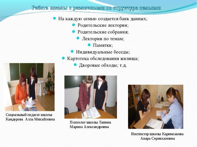 На каждую семью создается банк данных; Родительские лектории; Родительские с...