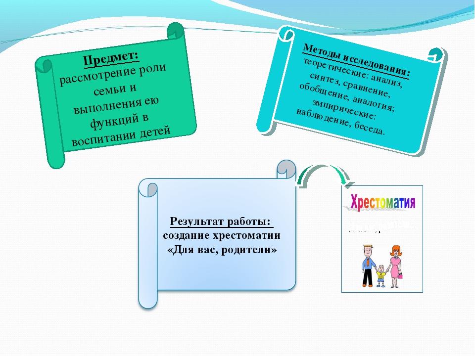 Предмет: рассмотрение роли семьи и выполнения ею функций в воспитании детей М...