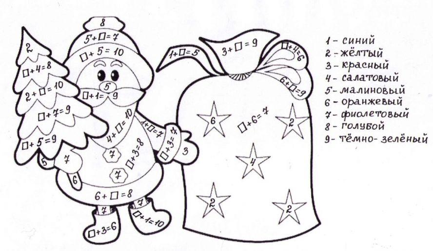Математические раскраски 1 класс для