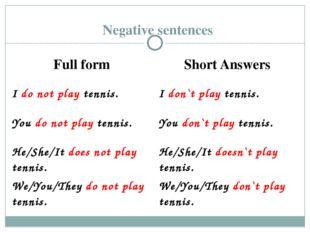 Negative sentences Full form Short Answers Ido not playtennis. Idon`t playten