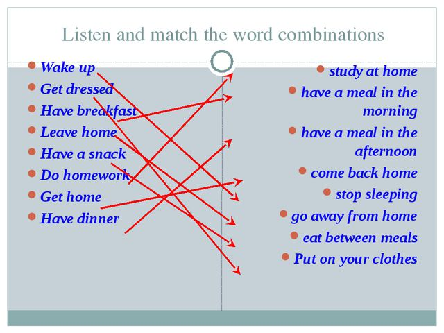 Listen and match the word combinations Wake up Get dressed Have breakfast Lea...