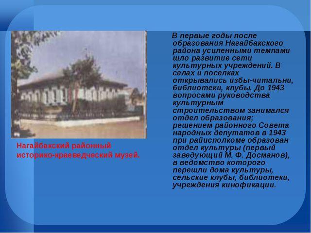 В первые годы после образования Нагайбакского района усиленными темпами шло...