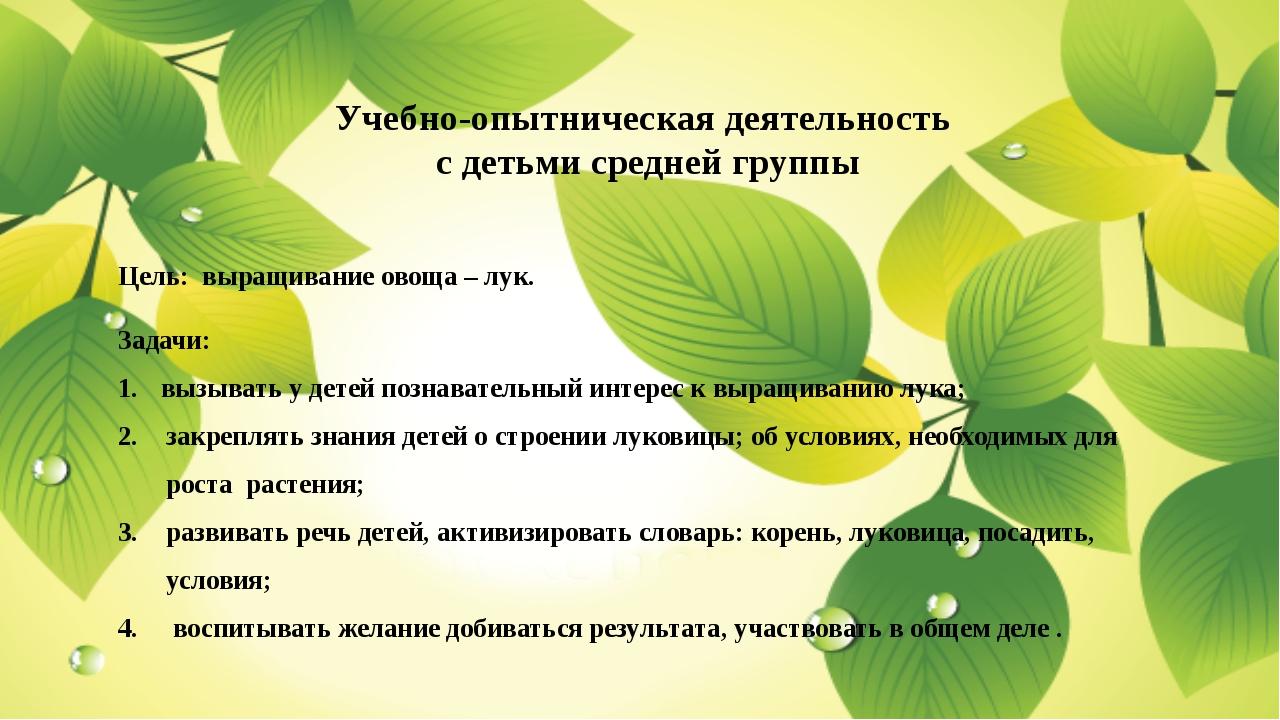 Учебно-опытническая деятельность с детьми средней группы Цель: выращивание о...