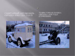 САНИТАРНЫЙ АВТОМОБИЛЬ ОБРАЗЦА 1938 ГОДА. ГАЗ-55 75-ММ ГОРНАЯ ПУШКА ОБРАЗЦА 19