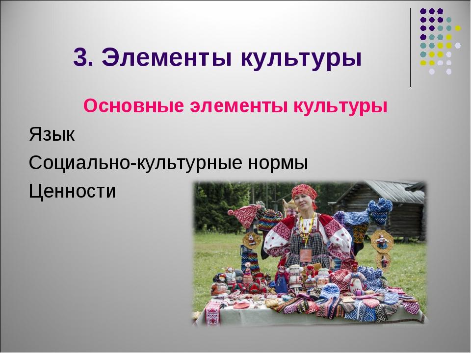 3. Элементы культуры Основные элементы культуры Язык Социально-культурные нор...