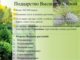 Подцарство Высшие растения Более 300 000 видов. Наземные (есть и водные) раст