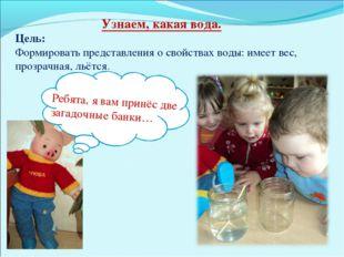 Узнаем, какая вода. Цель: Формировать представления о свойствах воды: имеет в