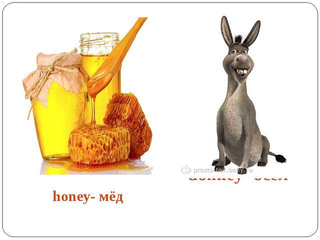 honey- мёд donkey- осёл