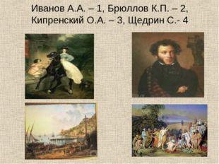 Иванов А.А. – 1, Брюллов К.П. – 2, Кипренский О.А. – 3, Щедрин С.- 4