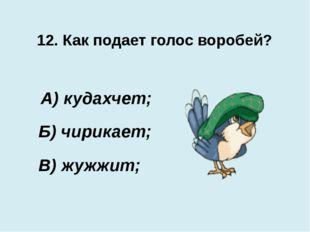 12. Как подает голос воробей? В) жужжит; А) кудахчет; Б) чирикает;
