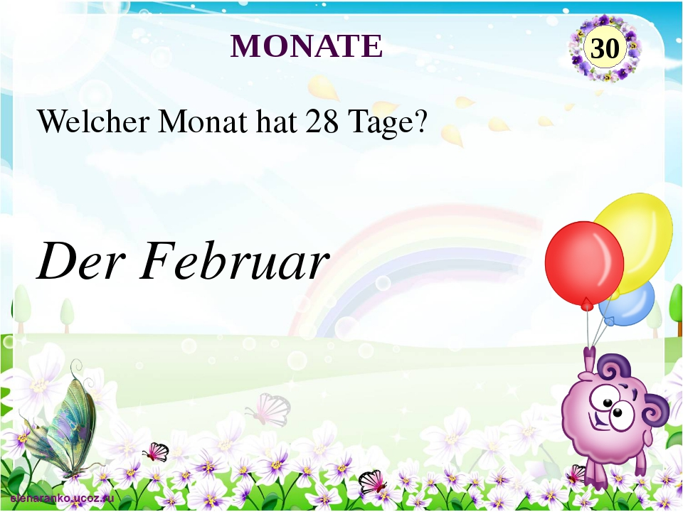 Der Februar Welcher Monat hat 28 Tage? MONATE 30