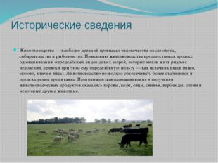 Исторические сведения Животноводство— наиболее древний промысел человечества