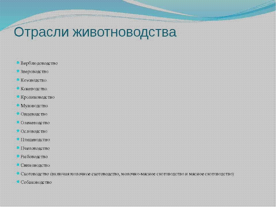Отрасли животноводства Верблюдоводство Звероводство Козоводство Коневодство К...