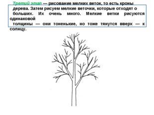 Третий этап — рисование мелких веток, то есть кроны дерева. Затем рисуем мелк