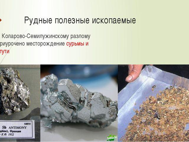 Рудные полезные ископаемые К Коларово-Семилужинскому разлому приурочено место...