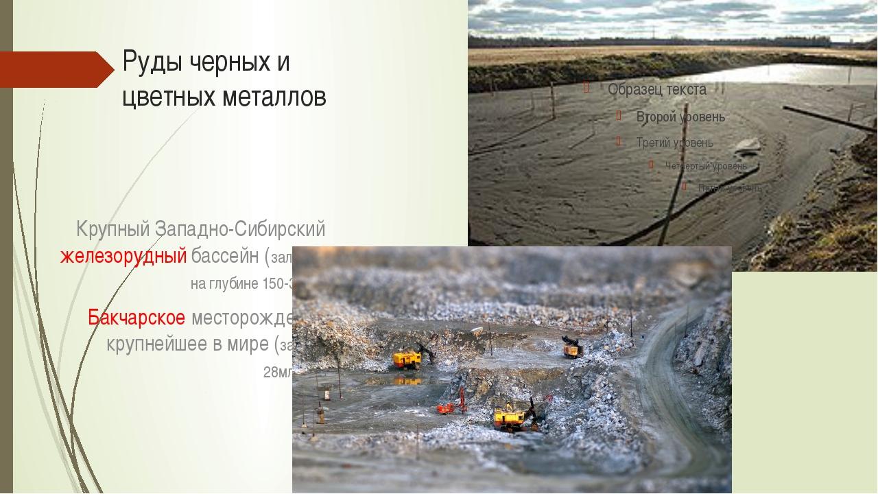 Руды черных и цветных металлов Крупный Западно-Сибирский железорудный бассейн...