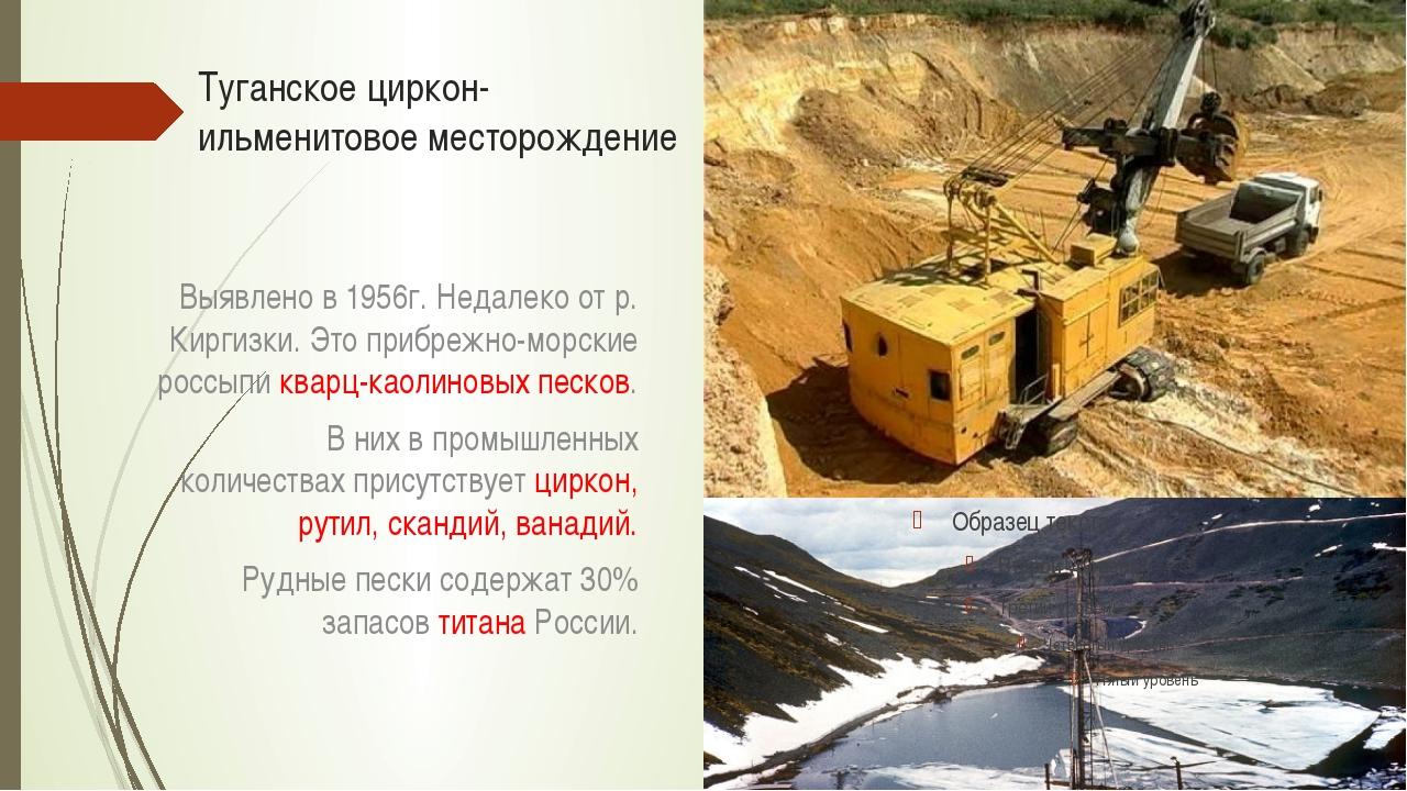 Туганское циркон-ильменитовое месторождение Выявлено в 1956г. Недалеко от р....