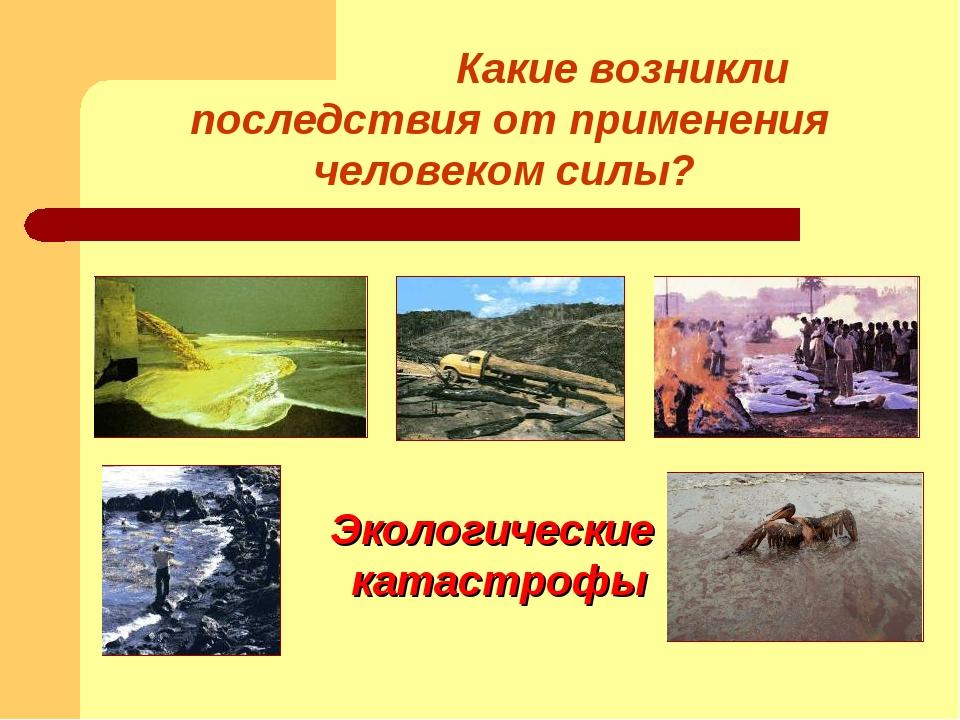 Какие возникли последствия от применения человеком силы? Экологические катас...