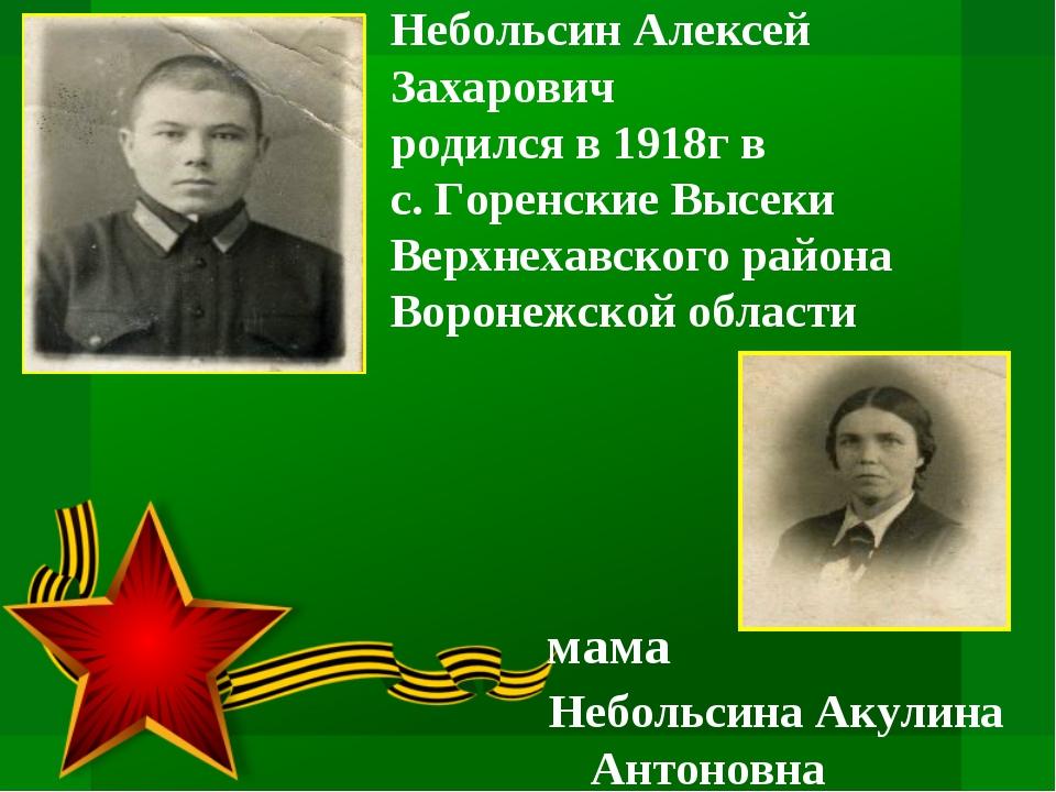 Небольсин Алексей Захарович родился в 1918г в с. Горенские Высеки Верхнехавс...
