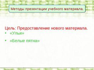 Цель: Предоставление нового материала. «Ульи» «Белые пятна»