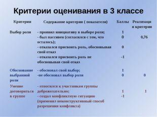 Критерии оценивания в 3 классе Критерии Содержание критерия( показатели) Балл