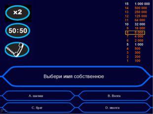 Выбери имя собственное А. шалаш D. иволга B. Волга C. брат