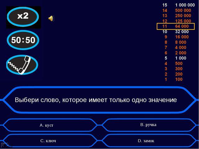Выбери слово, которое имеет только одно значение А. куст D. замок B. ручка C....