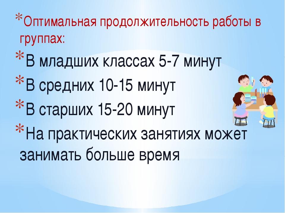 Оптимальная продолжительность работы в группах: В младших классах 5-7 минут В...