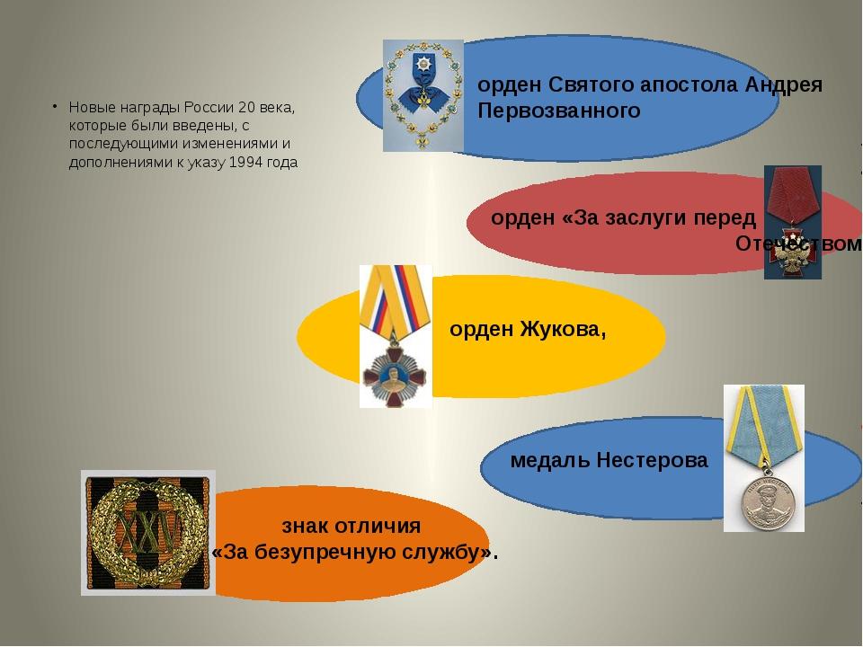 Новые награды России 20 века, которые были введены, с последующими изменения...