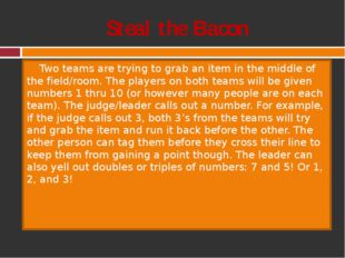 Steal the Bacon Two teams are trying to grab an item in the middle of the fie