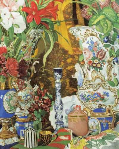 А.Я.Головин. Натюрморт. Цветы и фарфор. Около 1912 года. Фанера, темпера