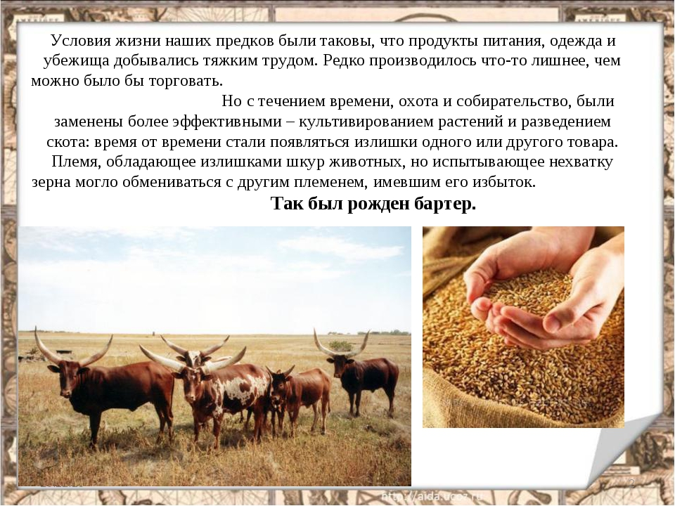 Условия жизни наших предков были таковы, что продукты питания, одежда и убежи...
