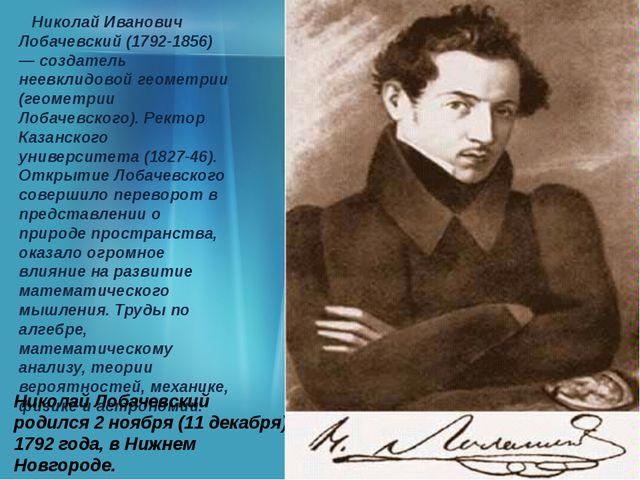 Николай Иванович Лобачевский (1792-1856) — создатель неевклидовой геометрии...