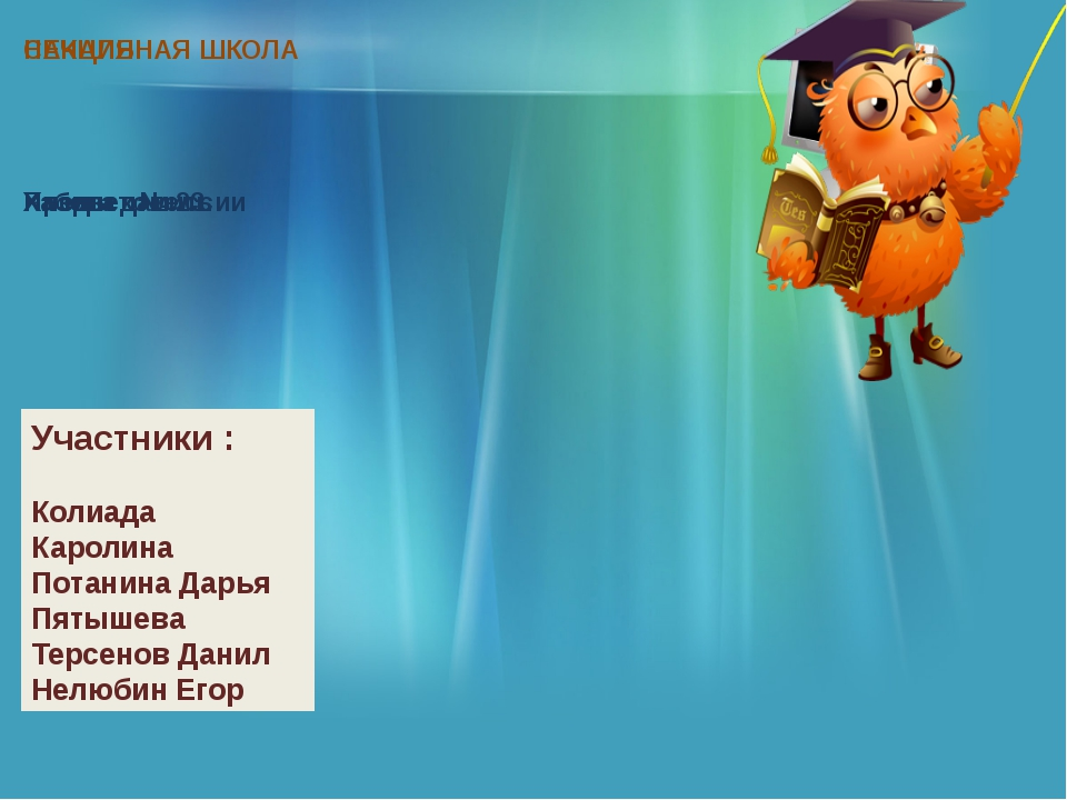 Участники : Колиада Каролина Потанина Дарья Пятышева Терсенов Данил Нелюбин...
