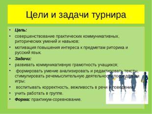 Цели и задачи турнира Цель: совершенствование практических коммуникативных, р
