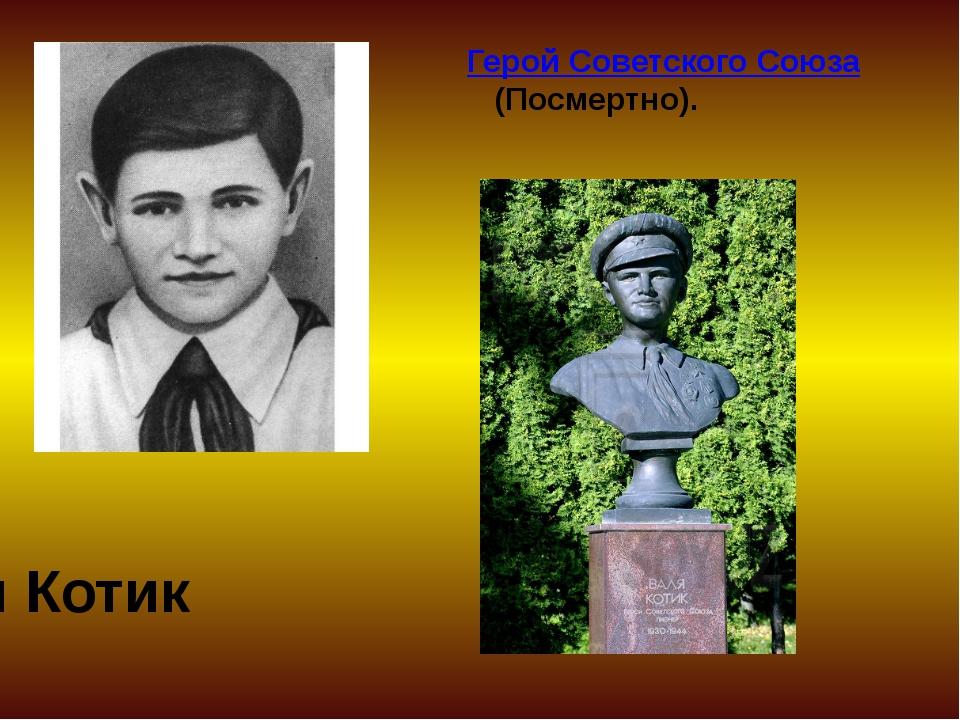 Герой Советского Союза (Посмертно). Валя Котик