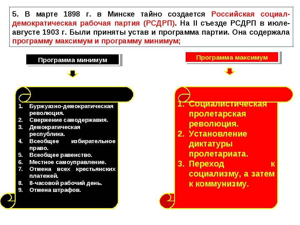 5. В марте 1898 г. в Минске тайно создается Российская социал-демократическая...