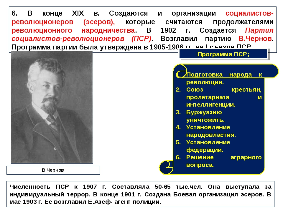 6. В конце XIX в. Создаются и организации социалистов-революционеров (эсеров)...