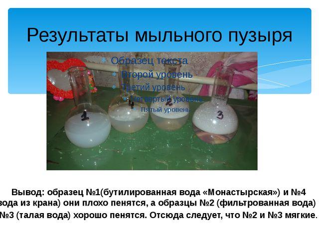 Результаты мыльного пузыря Вывод: образец №1(бутилированная вода «Монастырска...