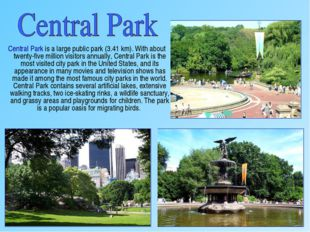 Central Park is a large public park (3.41 km). With about twenty-five millio