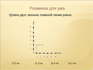 Разминка для ума. Длина двух звеньев ломаной линии равна: 1) 5 см 2) 3 см 3)