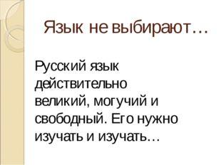 Язык не выбирают… Русский язык действительно великий, могучий и свободный. Ег