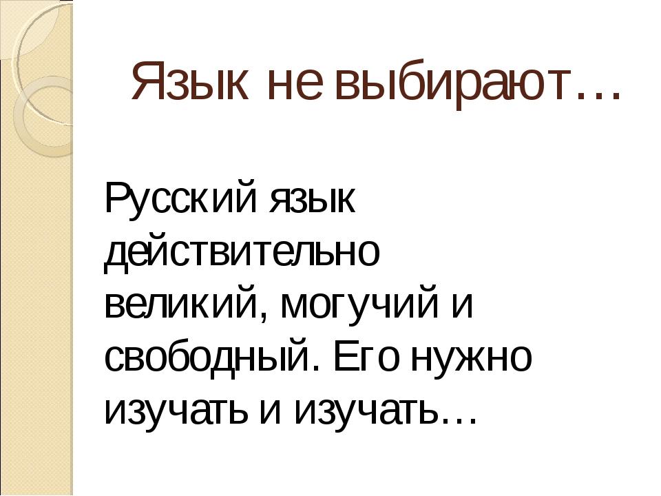 Язык не выбирают… Русский язык действительно великий, могучий и свободный. Ег...