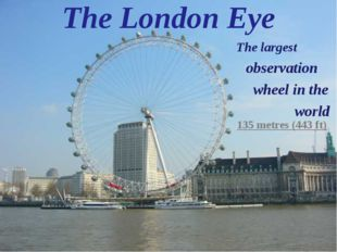 The London Eye The largest observation wheel in the world 135 metres (443 ft)