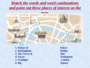 Match the words and word combinations and point out these places of interest