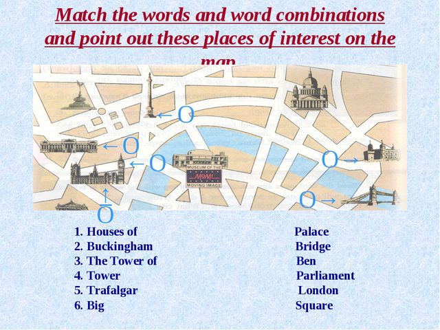 Match the words and word combinations and point out these places of interest...