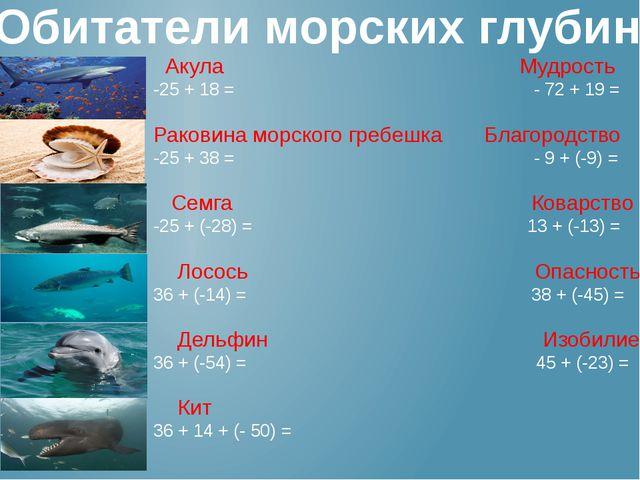 Обитатели морских глубин Акула Мудрость -25 + 18 = - 72 + 19 = Раковина морск...