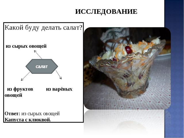 Какой буду делать салат? из сырых овощей из фруктов из варёных овощей Ответ:...