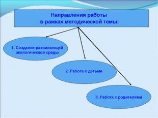 Направления работы в рамках методической темы: 1. Создание развивающей эколог