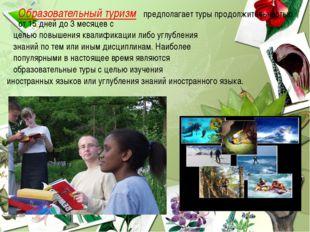 Образовательный туризм предполагает туры продолжительностью от 15 дней до 3